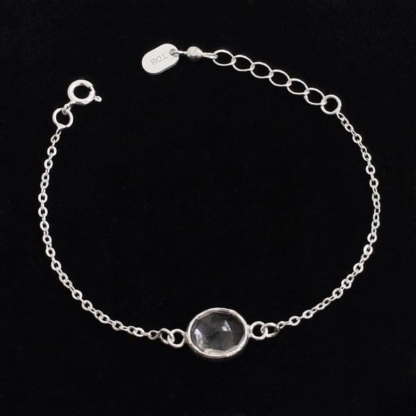 Image of Clear Quartz oval shape rose cut silver chain bracelet