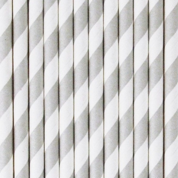 Image of Pajitas de papel rayas grises