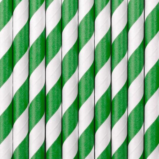 Image of Pajitas de papel rayas verdes