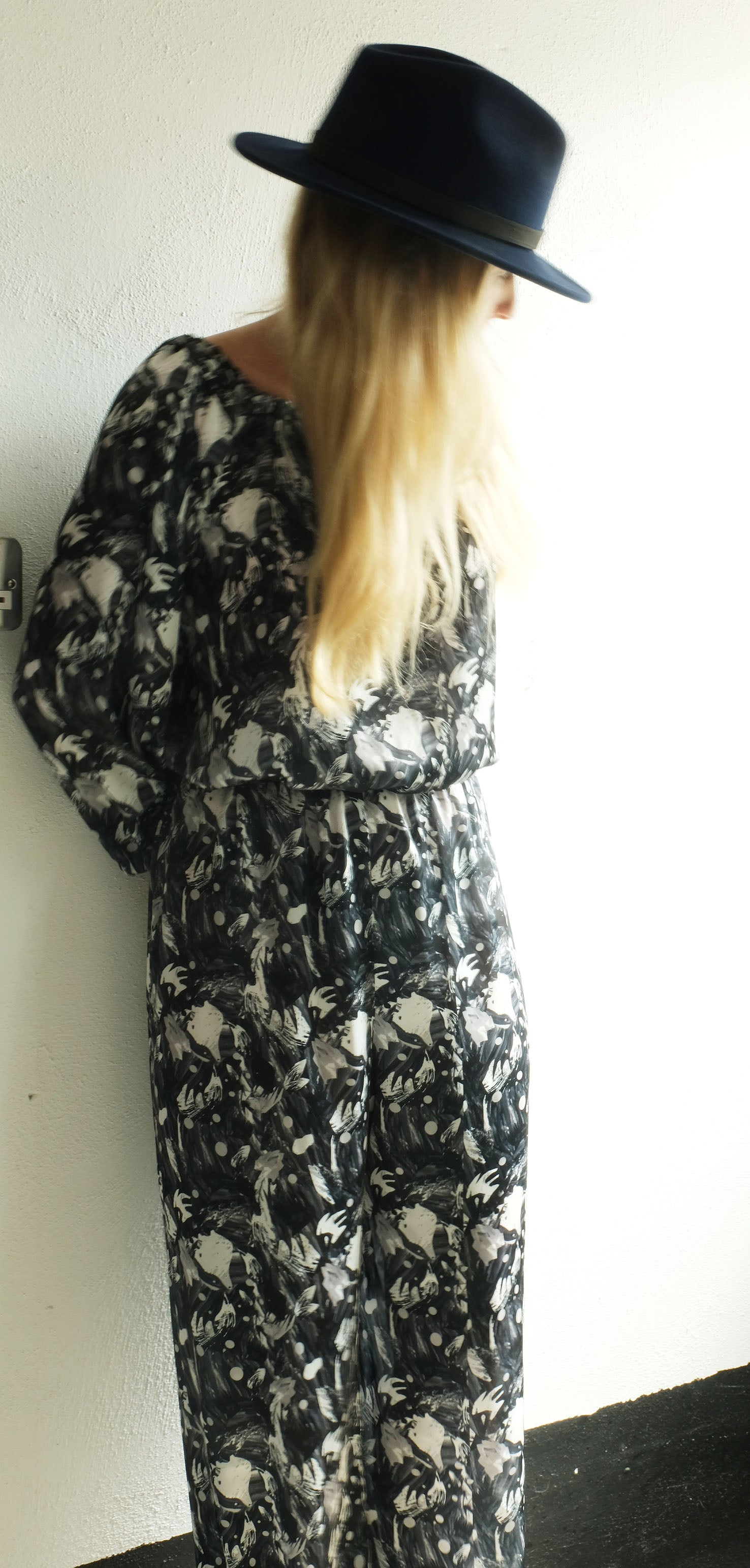 Image of 'Art School' Black and White Jumpsuit in Silk-Satin