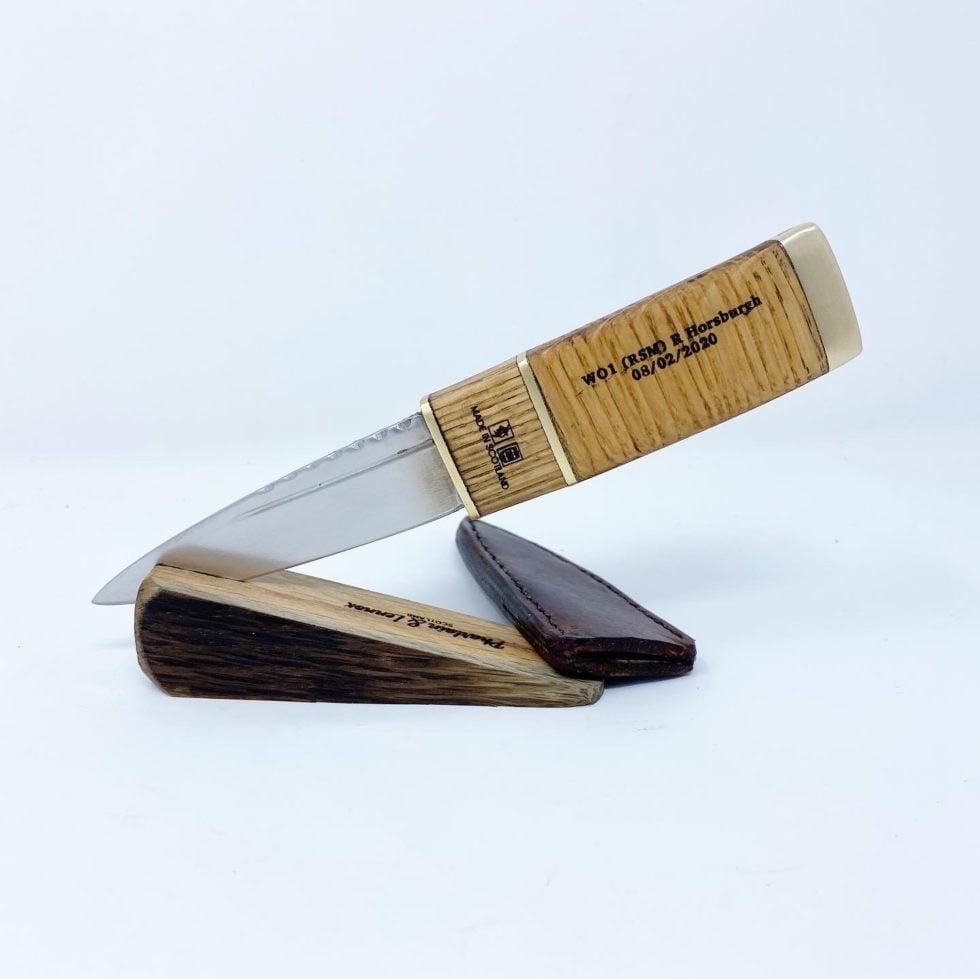 Pharlain & Lennox - PL002 Curved Oak Whisky Barrel and Brass sgian dubh.