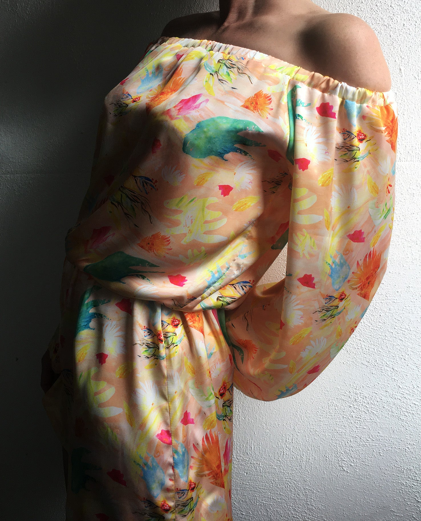 Image of Tropical Abstraction Silk-Satin Playsuit