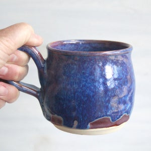 Image of Blue Purple and Mauve Mug, 12 oz. Handcrafted Stoneware Pottery Coffee Cup, Made in USA