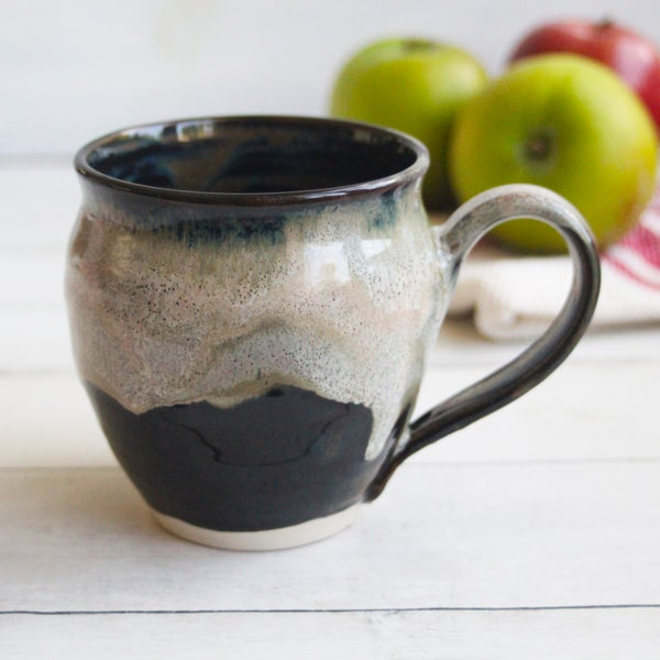 Image of Handmade Pottery Mug in Dripping Brown and Black Glazes, 15 oz. Ceramic Coffee Cup, Made in USA