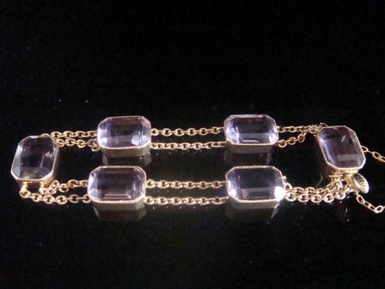 Image of EDWARDIAN 9CT RARE ROSE GOLD EMERALD CUT AMETHYST BRACELET