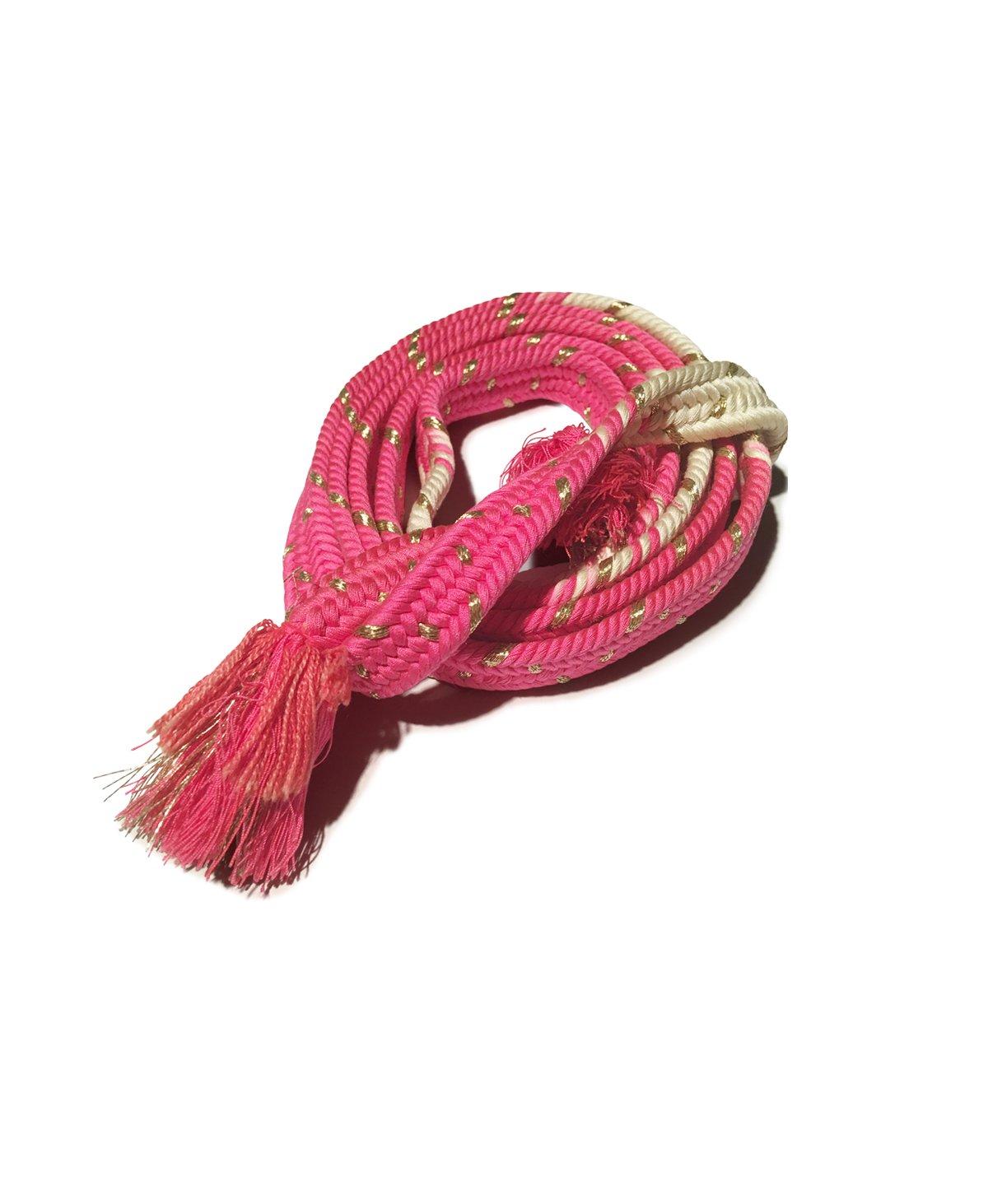 Image of Pink hvidt bælte m guldnister