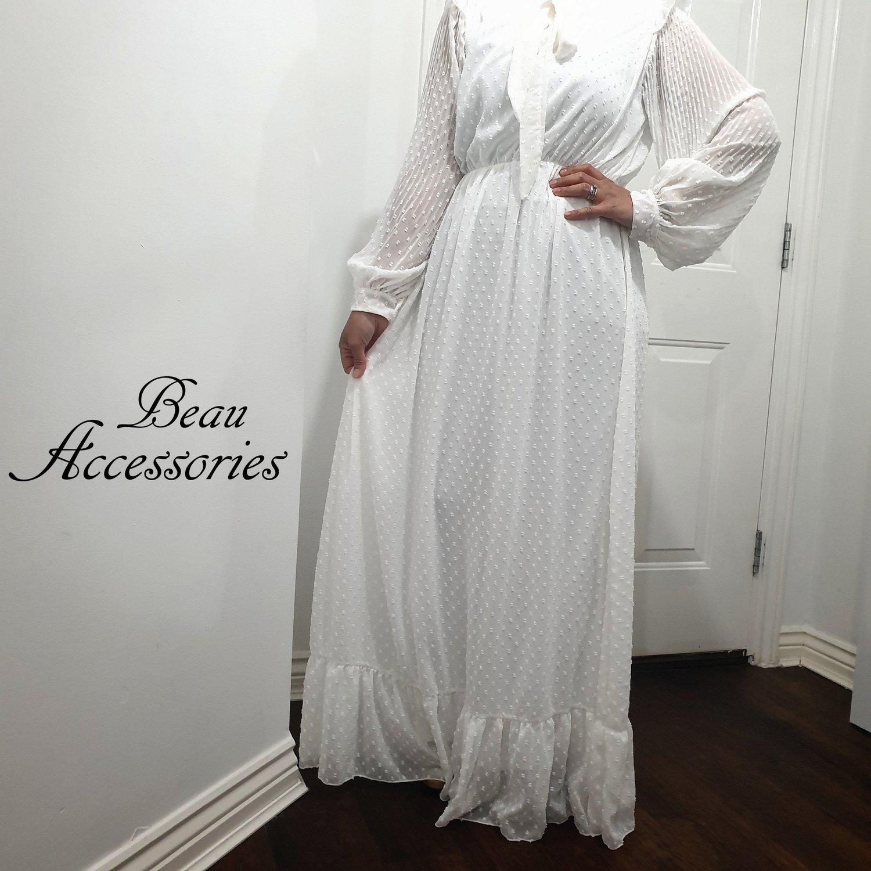 Image of White Swiss Dott Maxi Dress