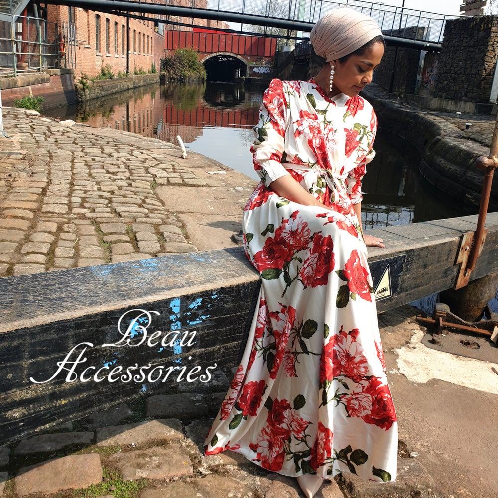 Image of Red Flower Satin Maxi Dress