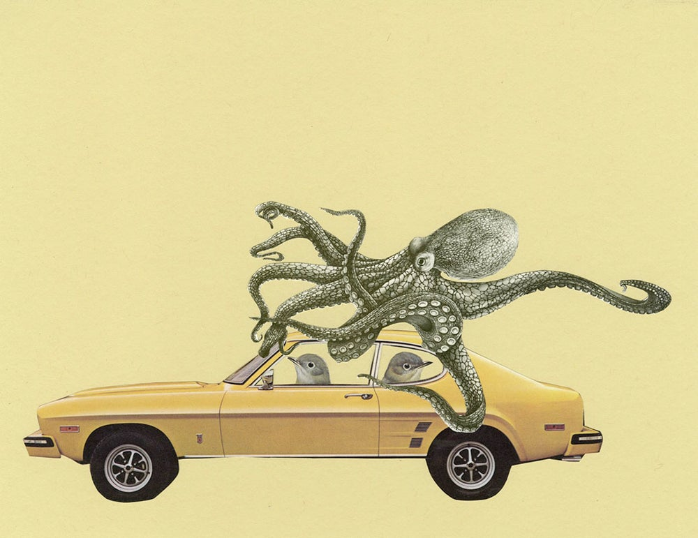 Image of The getaway. Limited edition collage print.