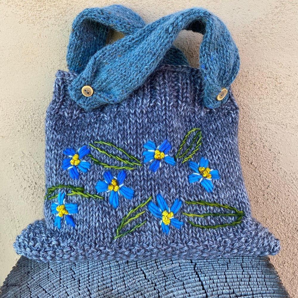 Image of Alpine Forget-Me-Nots Knitted Pouch