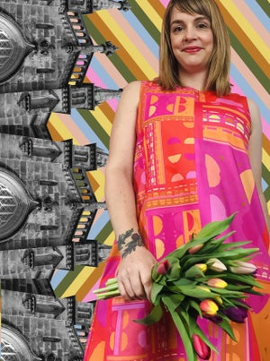 Image of Valleri in the City Dress : Orange/Pink