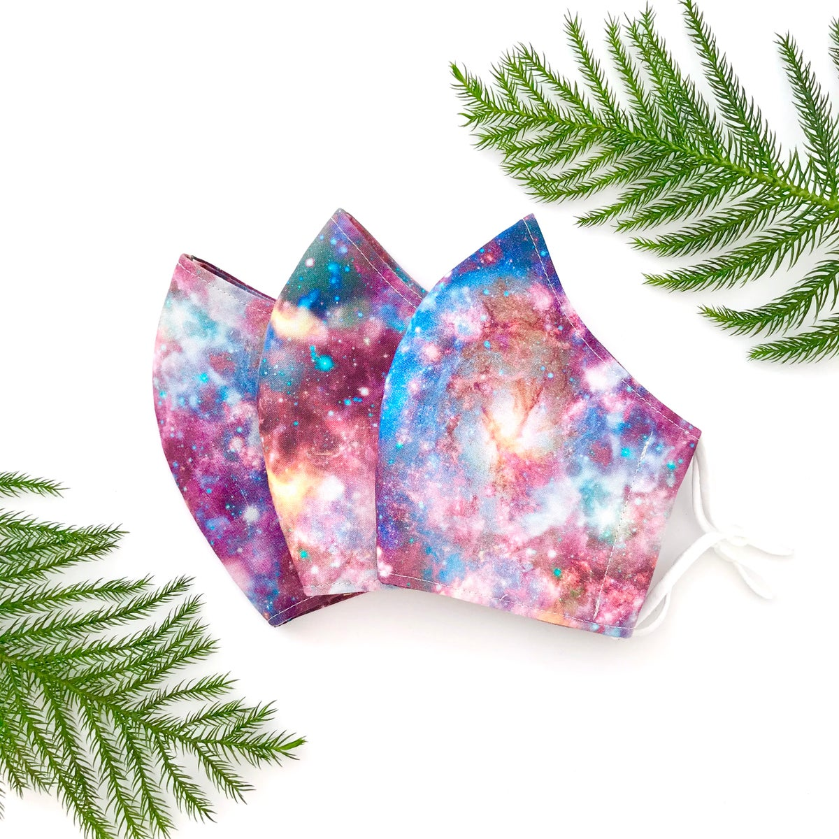 Galaxy Print - Triple Layer Fitted Cotton Face Mask (with Ties or Elastic Loops)