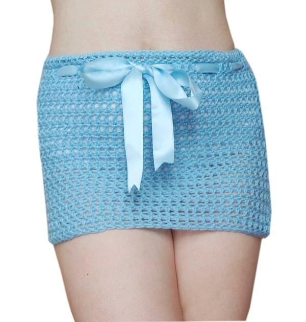 Image of Blue crochet mini skirt