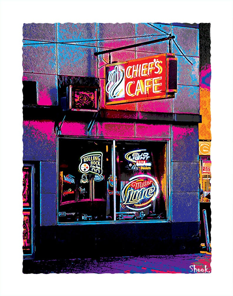 Chief's Cafe, Pittsburgh PA Giclée Art Print (Multi-size options)