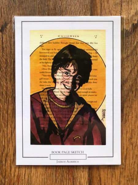 Image of Harry Potter  - Book Page Sketch - 5x7 Print