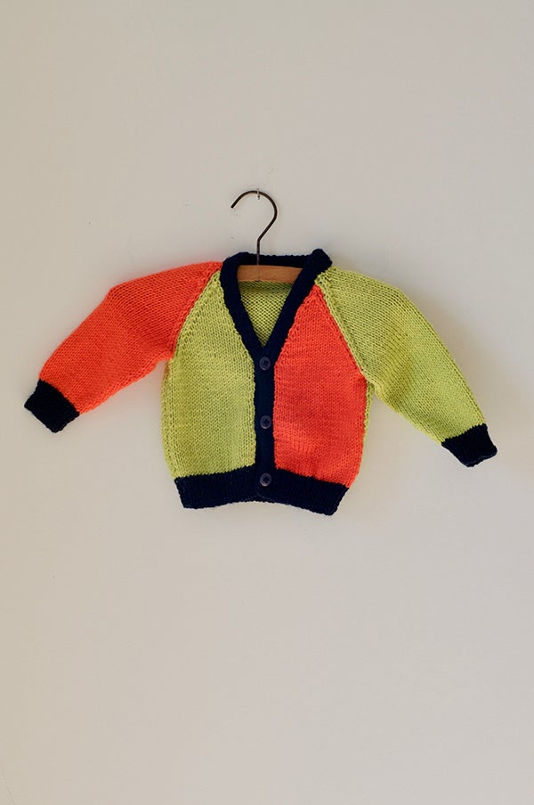 Image of Knitted Cardigan - Navy/Lime/Mandarin