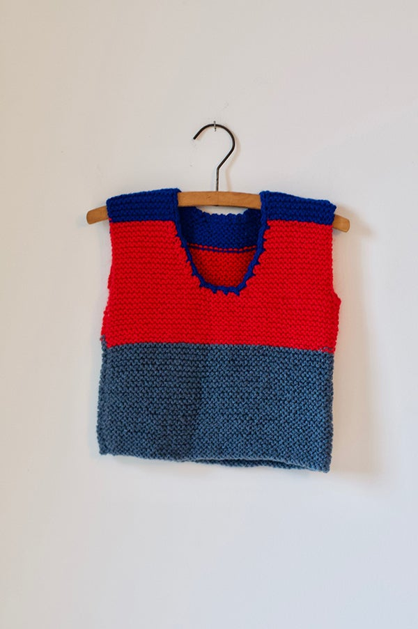 Image of Knitted Vest - Blue/Red/Grey