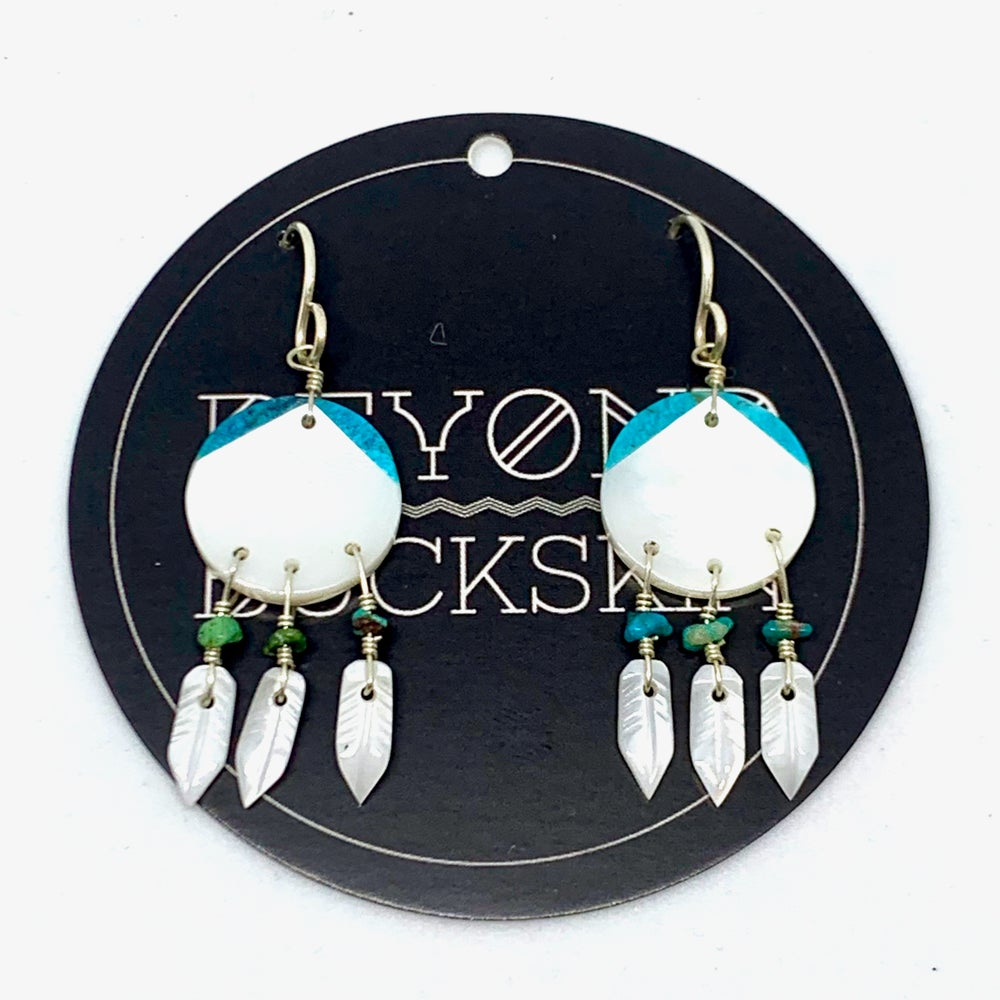 Image of White Shell Shield Earrings