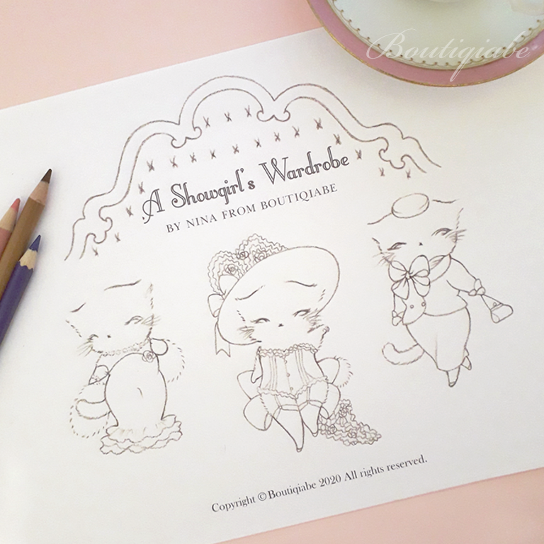 Image of A Showgirl's Wardrobe Colouring Page