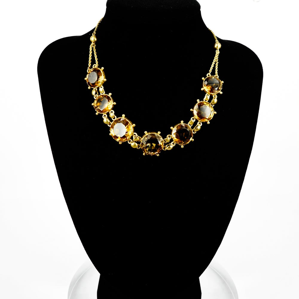 Image of 9ct yellow gold Antique natural citrine necklace. NL12