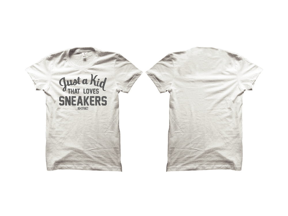 JUST A KID THAT LOVES SNEAKERS ( CEMENT PRINT) T-SHIRT {RESTOCKED}