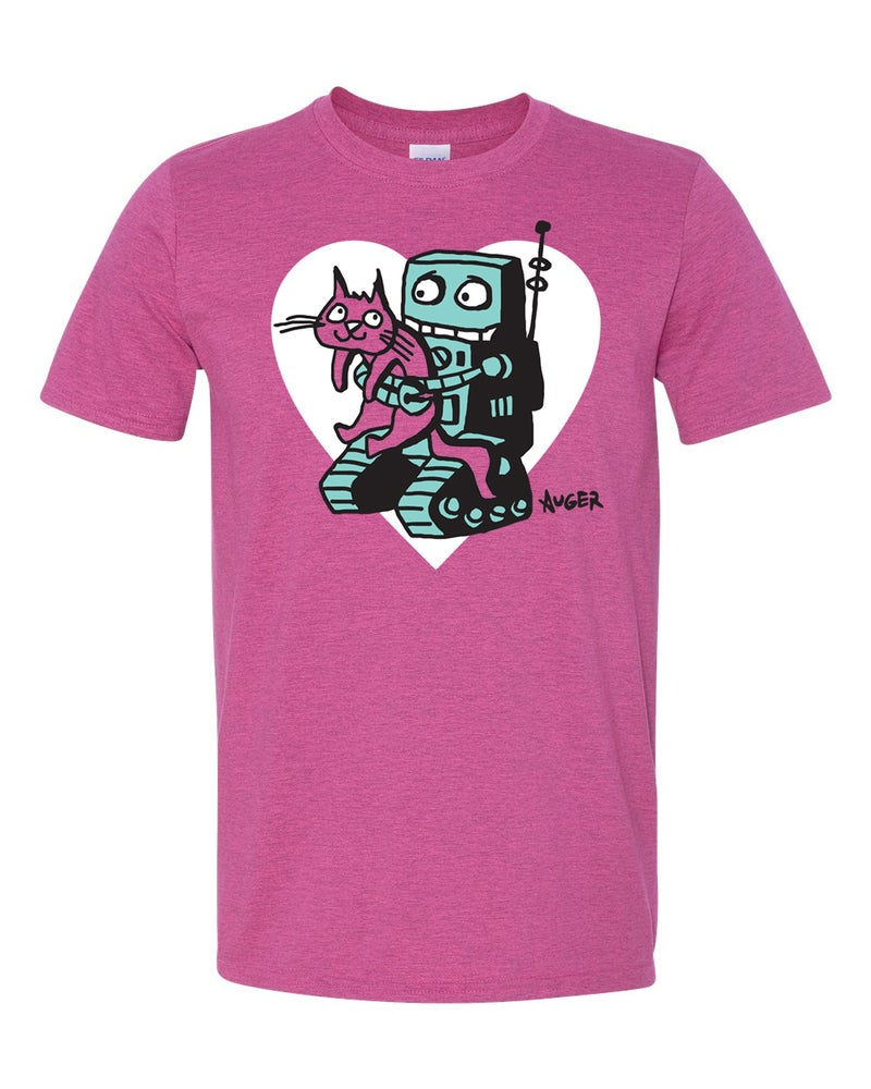 Image of Robot and Kitty Are Friends gray and heliconia shirts