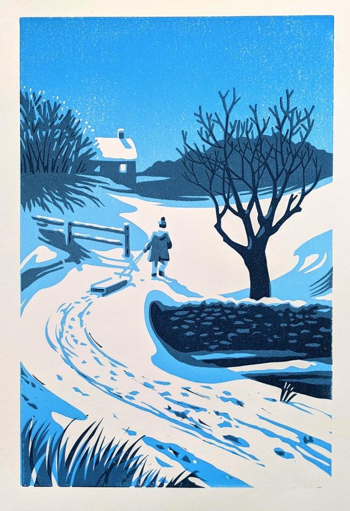 Image of Winter scene linocut