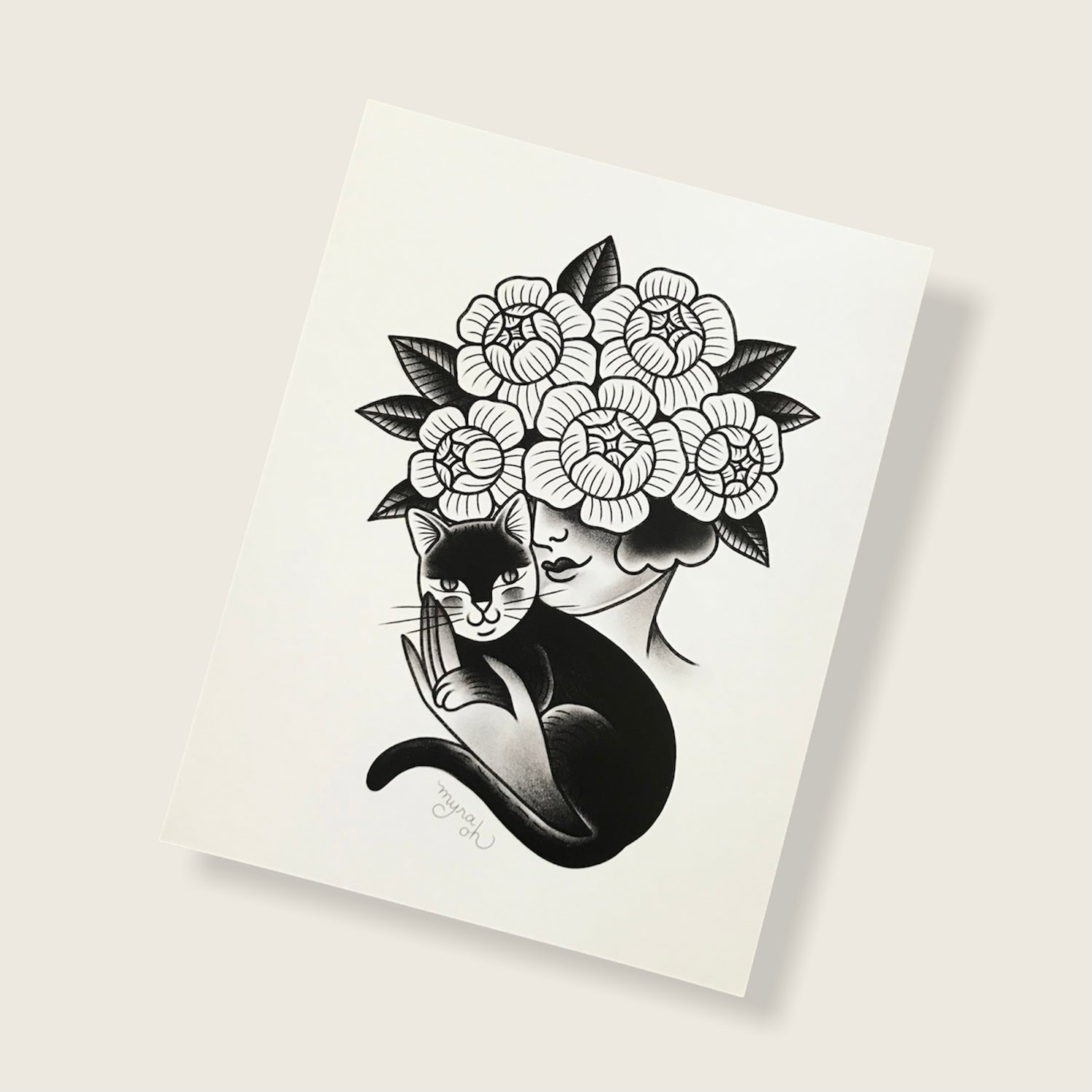 Image of Cat & Floral Face print
