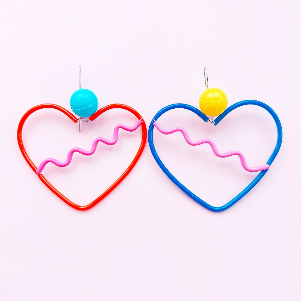 Image of Heart earrings- mixed colours