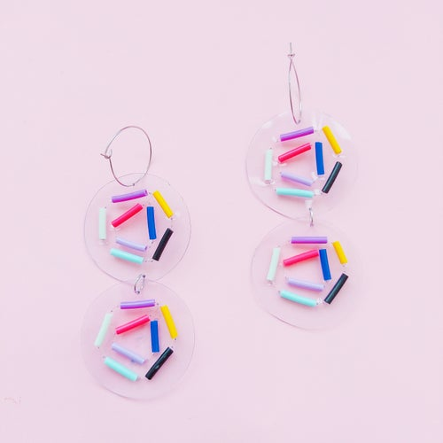 Image of Confetti disk earrings double and singles