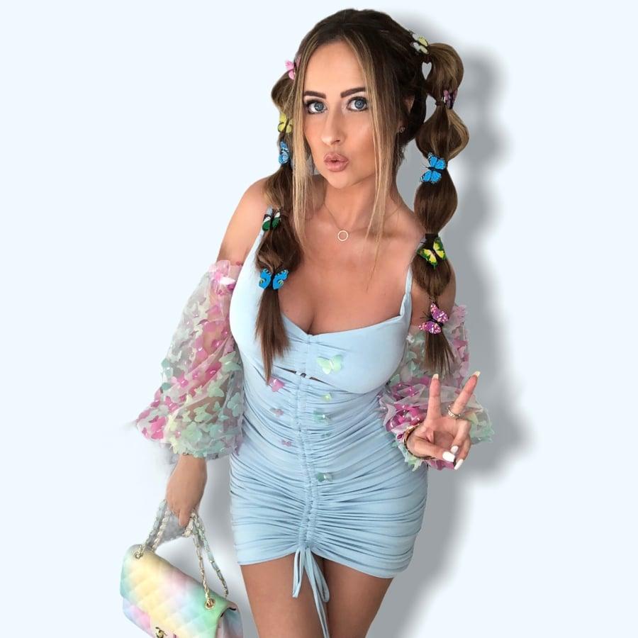 Image of Powder Blue Butterfly Dress