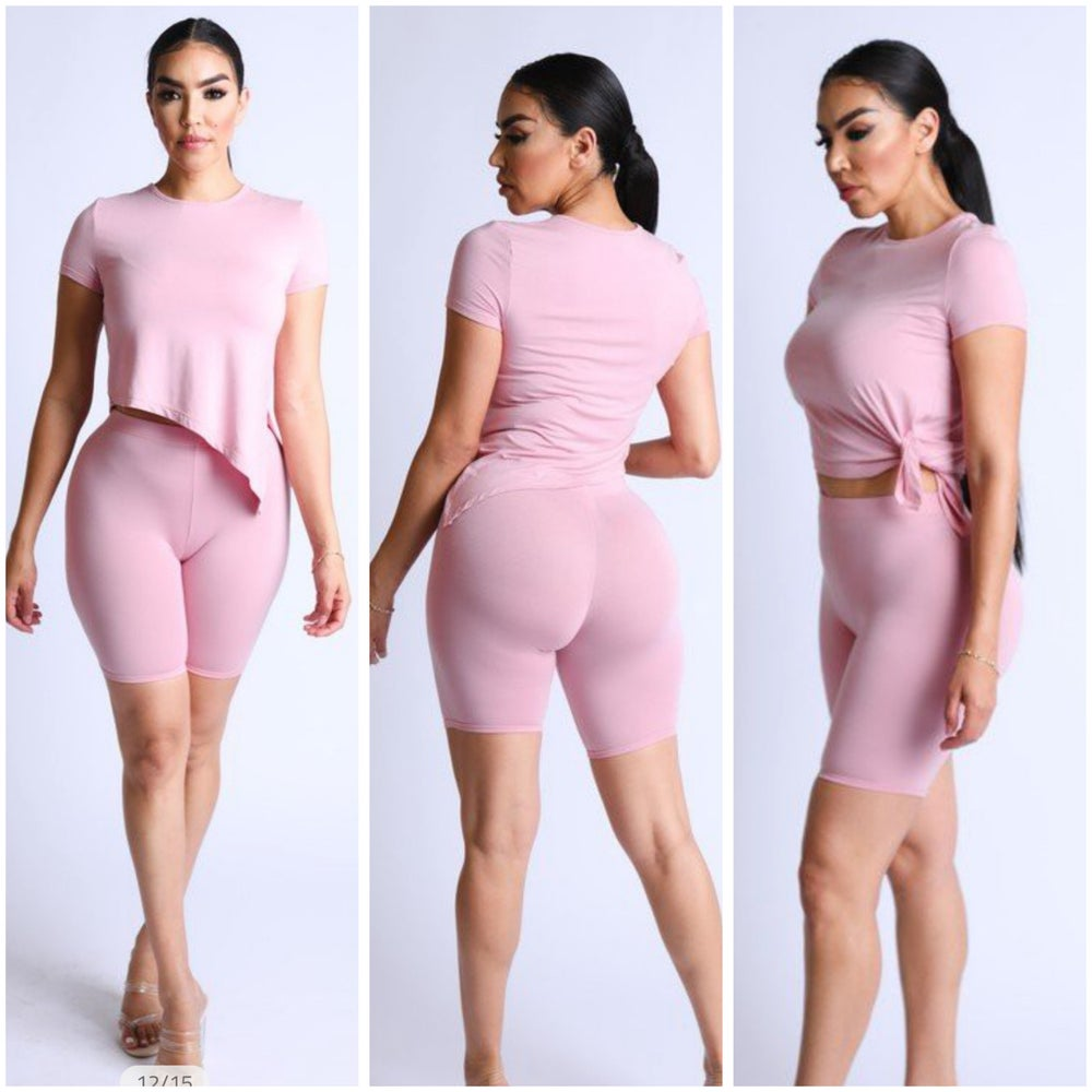 Image of #1181 Pink Side tie top with biker shorts set
