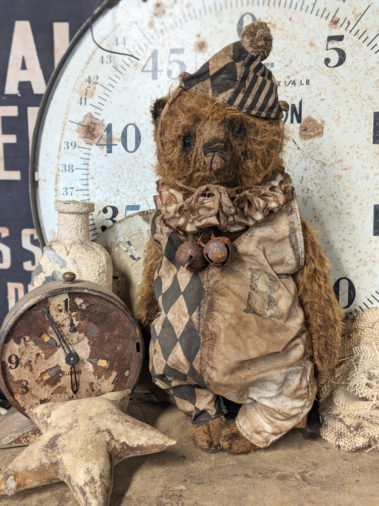 """Image of 12"""" - BIGGY size Long Hair Mohair Teddy Bear in romper outfit - By Whendi's Bears"""