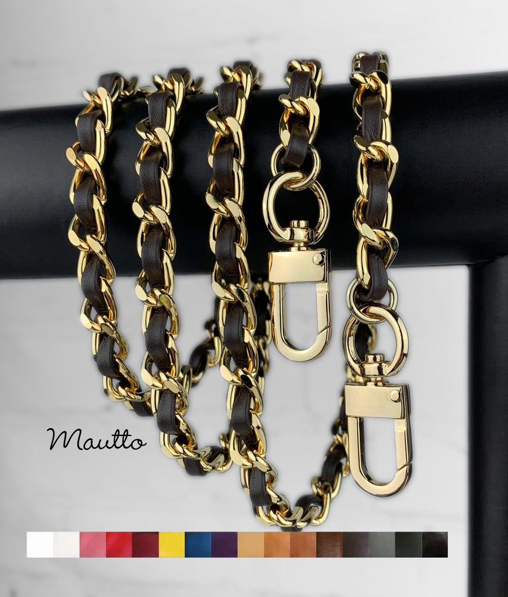 Image of Classic GOLD Chain Strap with Leather Woven by Hand - 16 Colors, 6 Clasp Styles, 11 Length Options