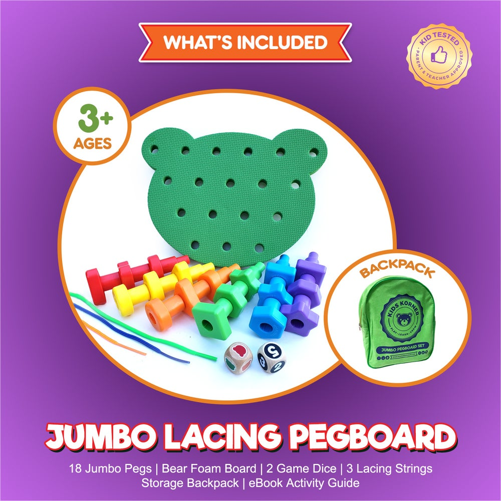 Image of Jumbo Lacing Shapes Pegboard Game Set