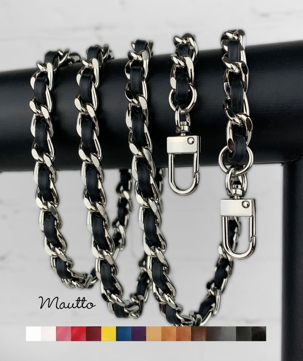 Image of Classic NICKEL Chain Strap with Leather Woven by Hand - 16 Colors, 6 Clasp Styles, 11 Length Options
