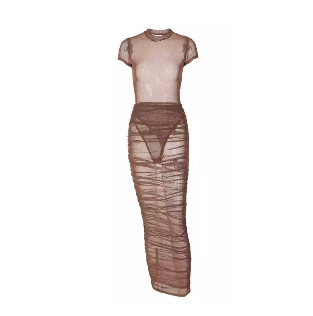 Image of Chocolate Mesh | Skirt Set