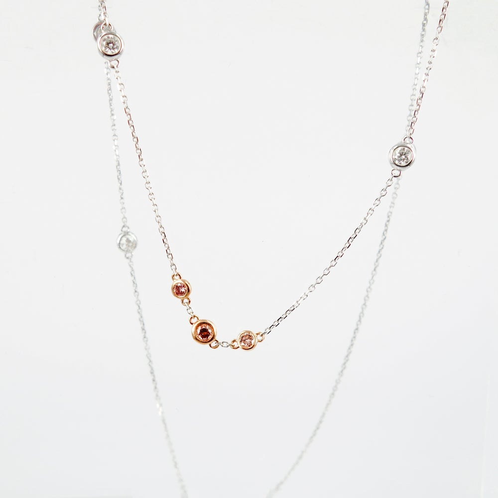 Image of Pink and white diamond 18ct gold necklet. NL11