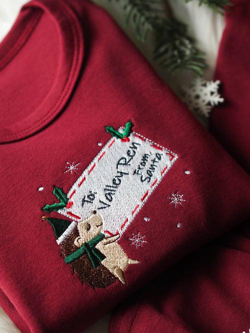 Image of Letter From Santa - Burgundy Loungeset/pjs