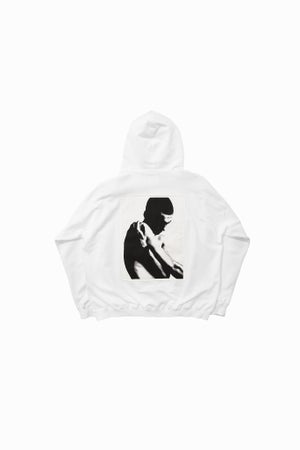 Image of WHITE FRENCH TERRY HOODED SWEATSHIRT