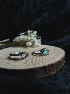 Image of Black snake wrap ring (sterling silver)