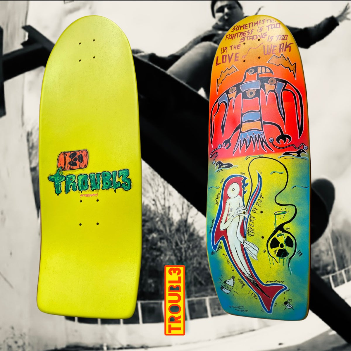 OLD SCHOOL, SURFSKATE or CRUISING SINGLE KICK TAIL - TROUBL3 SKATEBOARDS