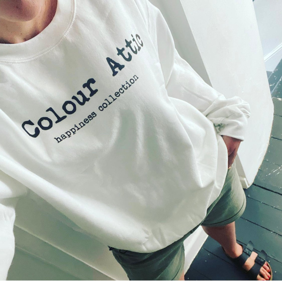 Image of White Colour Attic - happiness collections unisex sweatshirt