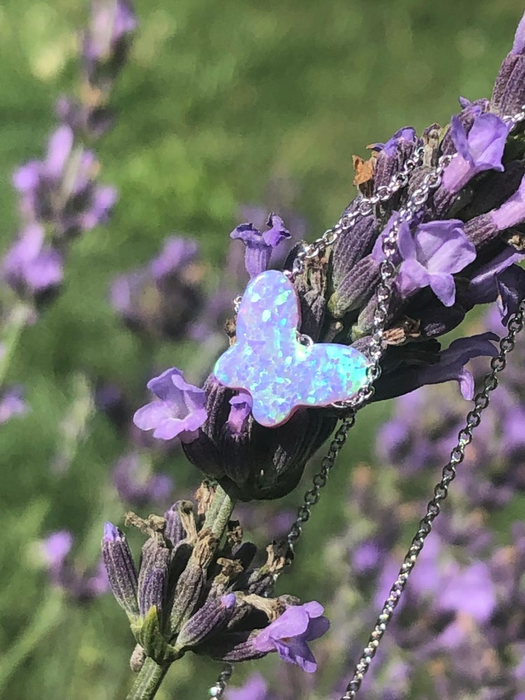 Image of Lavender Butterfly Necklace