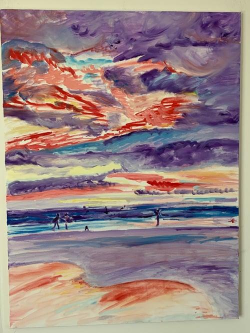 "Image of Nosara Purple Sunset 30"" x 40"" painting"