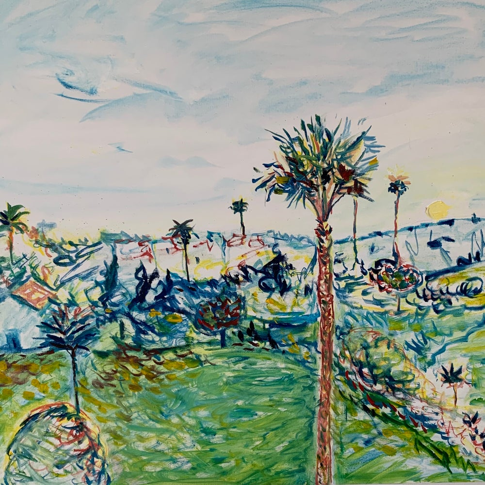 """Image of Jardines Palm 30"""" x 30"""" oil on canvas painting"""