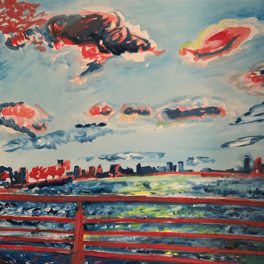 """Image of Red West Village Sunset 30"""" x 30"""" painting"""