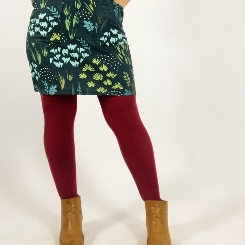 Burgundy Opaque Tights with Free Postage