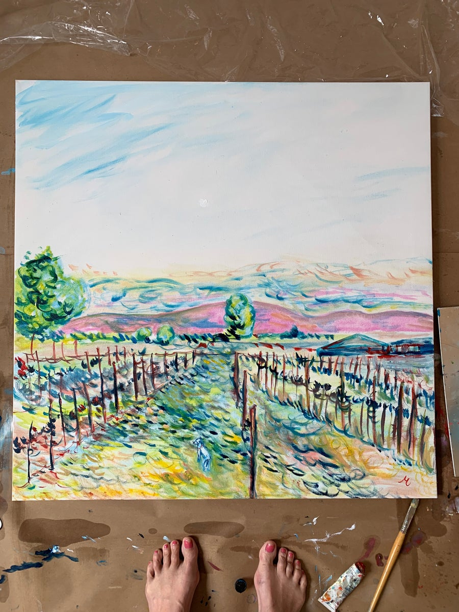"""Image of Elvis in Sonoma 30"""" x 30"""" painting"""