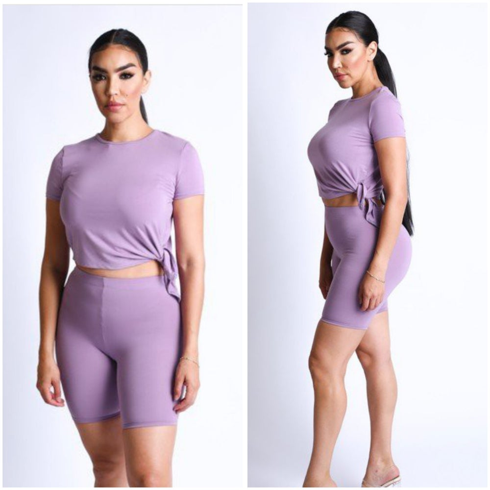 Image of #1185 Purple Side tie top with biker shorts